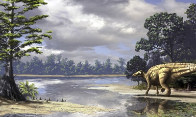 Illustration of a hadrosaur in a landscape